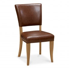 Belgrave Rustic Oak Uph Chair -  Rustic Tan Faux Leather  (Pair)