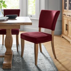 Rustic Oak Uph Chair -  Crimson Velvet Fabric  (Pair)