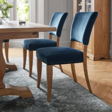 Rustic Oak Uph Chair -  Dark Blue Velvet Fabric  (Pair)