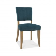 Rustic Oak Uph Chair -  Sea Green Velvet Fabric  (Pair)