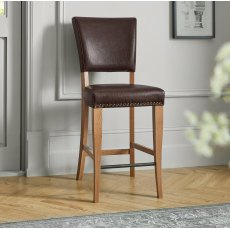 Belgrave Rustic Oak Bar Stool Rustic Espresso Faux Leather (Pair)