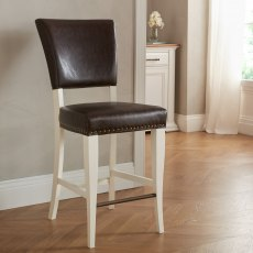Belgrave Ivory Bar Stool -  Rustic Espresso Faux Leather  (Pair)