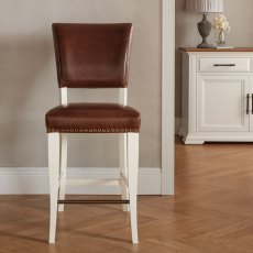 Belgrave Ivory Bar Stool -  Rustic Tan Faux Leather  (Pair)