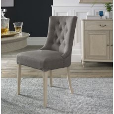 Bordeaux Chalk Oak Uph Scoop Chair -  Titanium Fabric (Pair)