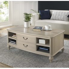 Bordeaux Chalk Oak Coffee Table With Drawers