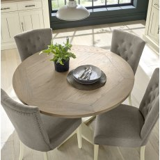 Chartreuse Aged Oak & Antique White Circular Table