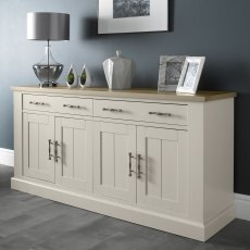 Chartreuse Aged Oak & Antique White 4 Door Sideboard