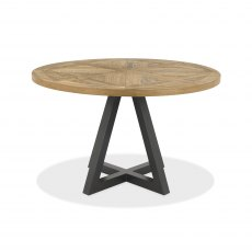 Indus Rustic Oak Circular Dining Table
