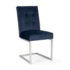 Tivoli Dark Oak Uph Cantilever Chair - Dark Blue Velvet (Pair)