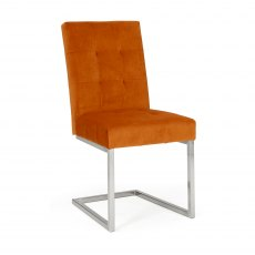 Tivoli Dark Oak Uph Cantilever Chair - Harvest Pumpkin Velvet (Pair)