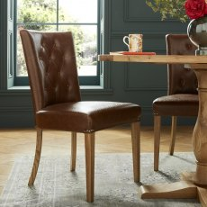 Westbury Rustic Oak Uph Chair - Tan Faux Leather (Pair)