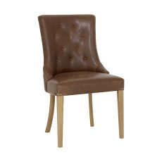 Westbury Rustic Oak Uph Scoop Chair - Tan Faux Leather (Pair)