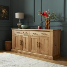 Westbury Rustic Oak 4 Door Sideboard