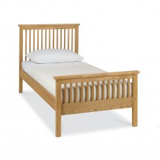 Atlanta Oak High Footend Bedstead Single 90cm