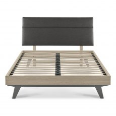 Brunel Scandi Oak & Dark Grey Uph Bedstead Double 135cm