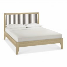 Rimini Aged Oak & Weathered Oak Slatted Bedstead 135cm Double