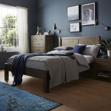 Turin Dark Oak Panel Low Footend Bedstead Double 135cm