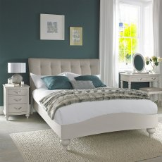 Montreux Soft Grey Uph Bedstead Vertical Stitch Pebble Grey Fabric Double 135cm
