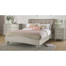 Montreux Urban Grey Uph Bedstead Vertical Stitch Pebble Grey Fabric King 150cm