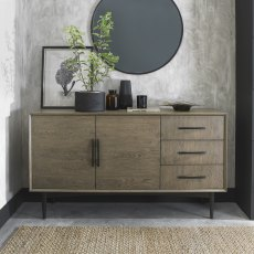 Vintage Weathered Oak & Peppercorn Wide Sideboard