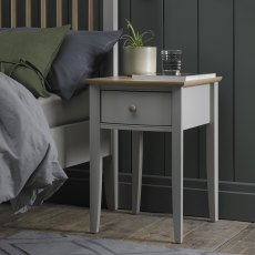 Whitby Scandi Oak & Warm Grey 1 Drawer Nightstand