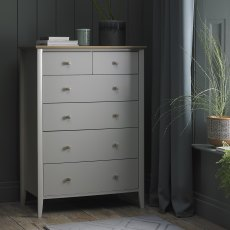 Whitby Scandi Oak & Warm Grey 4+2 Drawer Chest