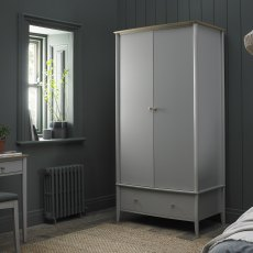 Whitby Scandi Oak & Warm Grey Double Wardrobe