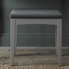 Whitby Scandi Oak & Warm Grey Stool - Gun Metal Velvet