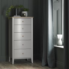Whitby Scandi Oak & Warm Grey 5 Drawer Chest