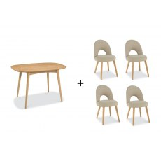 Oslo Oak Dining Set 'C'- Table & 4 Chairs