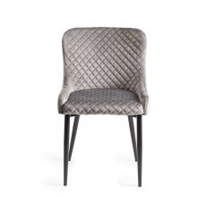 Upholstered Chair with Diamond Stitched Pattern - Grey Velvet Fabric with Black Frame (Pair)