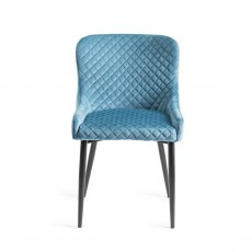 Upholstered Chair with Diamond Stitched Pattern - Petrol Blue Velvet Fabric with Black Frame (Pair)