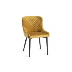 Upholstered Chair with Diamond Stitched Pattern - Mustard Velvet Fabric with Black Frame (Pair)