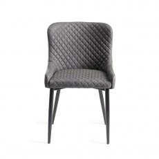 Upholstered Chair with Diamond Stitched Pattern - Dark Grey Faux Leather with Black Frame (Pair)