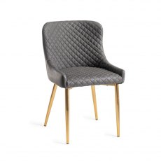 Upholstered Chair with Diamond Stitched Pattern - Dark Grey Faux Leather with Gold Frame (Pair)