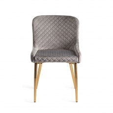 Upholstered Chair with Diamond Stitched Pattern - Grey Velvet Fabric with Gold Frame (Pair)