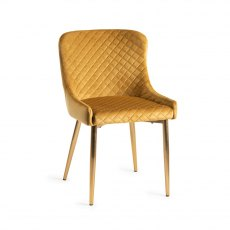 Upholstered Chair with Diamond Stitched Pattern - Mustard Velvet Fabric with Gold Frame (Pair)