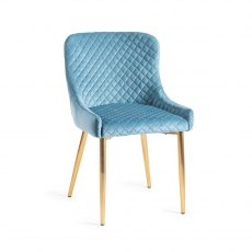 Upholstered Chair with Diamond Stitched Pattern - Petrol Blue Velvet Fabric with Gold Frame (Pair)