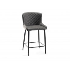 Upholstered Bar Stool with Diamond Stitched Pattern-Dark Grey Faux Leather with Black Frame (Pair)