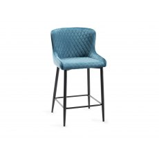 Upholstered Bar Stool with Diamond Stitched Pattern-Petrol Blue Velvet Fabric with Black Frame (Pair