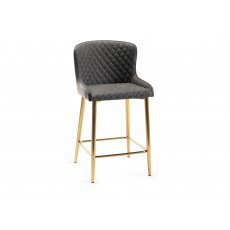 Upholstered Bar Stool with Diamond Stitched Pattern-Dark Grey Faux Leather with Gold Frame (Pair)