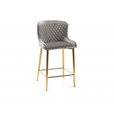 Upholstered Bar Stool with Diamond Stitched Pattern-Grey Velvet Fabric with Gold Frame (Pair)