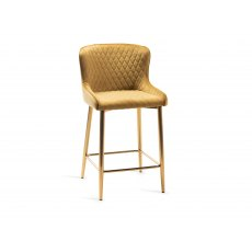 Upholstered Bar Stool with Diamond Stitched Pattern-Mustard Velvet Fabric with Gold Frame (Pair)