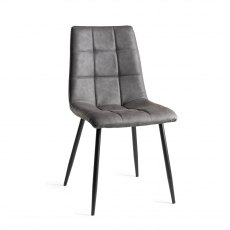 Upholstered Tapered Back Chair with Square Stitched Pattern - Dark Grey Faux Leather (Pair)