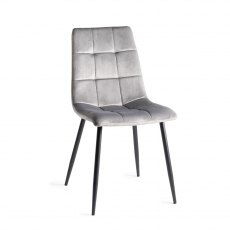 Upholstered Tapered Back Chair with Square Stitched Pattern - Grey Velvet Fabric (Pair)