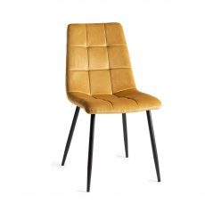 Upholstered Tapered Back Chair with Square Stitched Pattern - Mustard Velvet Fabric (Pair)