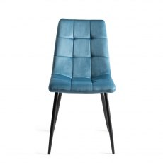 Upholstered Tapered Back Chair with Square Stitched Pattern - Petrol Blue Velvet Fabric (Pair)
