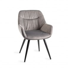 Upholstered Arm Chair with Pleated Back Pattern- Grey Velvet Fabric with Black Frame (Pair)