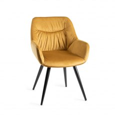 Upholstered Arm Chair with Pleated Back Pattern- Mustard Velvet Fabric with Black Frame (Pair)
