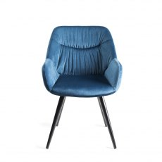 Upholstered Arm Chair with Pleated Back Pattern- Petrol Blue Velvet Fabric with Black Frame (Pair)